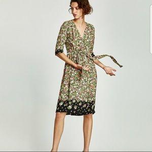 ZARA Basic Floral Wrap Dress